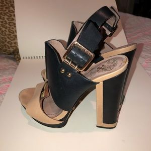 black + nude studded platform heels